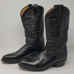 Tony Lama Black Leather Western Boots Size 10.5 D